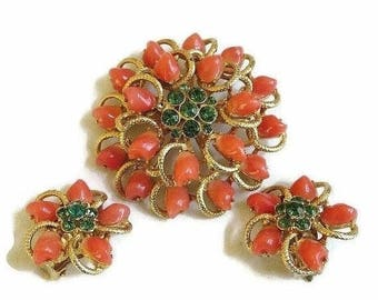 Flower Brooch or Pendant & Earrings Set Orange Baby Tooth and Green Rhinestones Layered Vintage