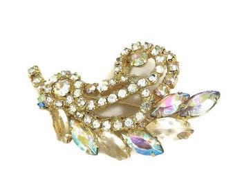 JULIANA Brooch in Clear and Aurora Borealis Rhinestones Vintage Leaf Verified D&E
