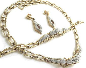 SALE Clear Pave Rhinestone Necklace, Bracelet, and Earrings Set Vintage Wedding Bridal
