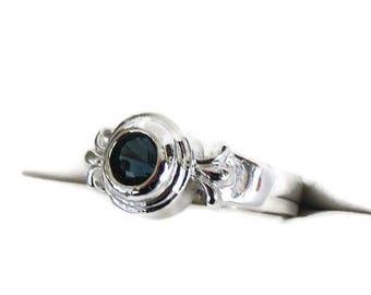 SALE Deep Sapphire Blue Rhinestone Ring Vintage Silver Tone Size 7.25