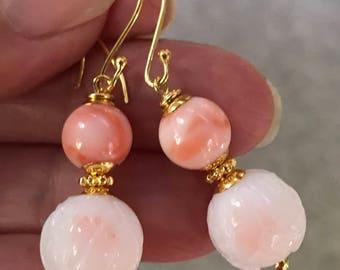 Vintage Pink Angel Skin Coral Dangle Bead Earrings,Vintage Japanese White Coral Glass Flower Beads,Handmade Bali 24k Gold Ear Wires,Bead Cap