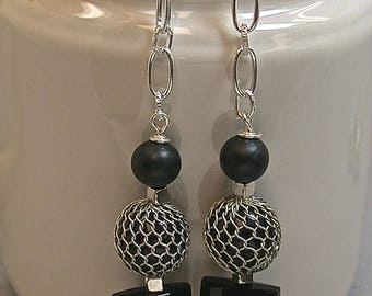 Vintage Black Crystal Dangle Drop Faceted Bead Earrings,Vintage Black Lucite Square Bead, Vintage Black Lucite Wire Mesh Bead, Silver Chain