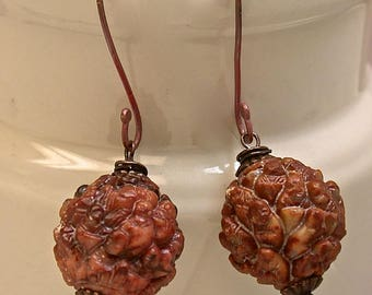 Vintage Serpentine Buddha Lohan Burgundy Brown Bead Earrings Dangle ,Handmade Rose Copper French Ear wires W - GIFT WRAPPED