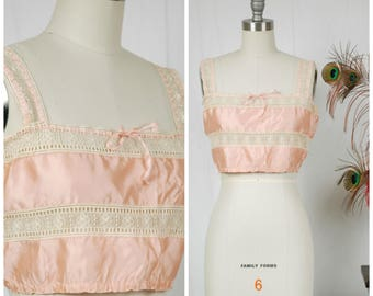 Vintage 1910s Camisole - Fine Lace and Pink Silk Camisole or Corset Cove with Ribbon