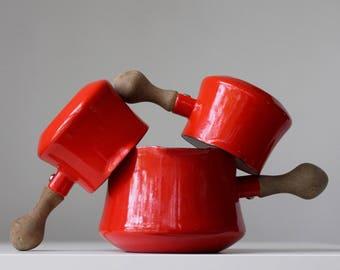Red Dansk Enamel Butter Warmers, Dansk Kobenstyle Pans, Kobenstyle Sauce Pans, Dansk Designs France, Jens Quistgaard, Scandinavian Modern