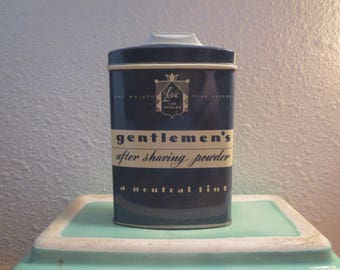 Vtg Lori Los Angeles GENTLEMEN'S after shaving powder / Collectible Tin 1940s / Vintage Metal Box  gentlemen's after shaving pwoder