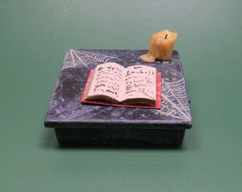 Collector Miniature 1:12 Scale  SPELL Writing DESK for Witch Wizard. Candle, spell book more OOAK Haunted Housewares.