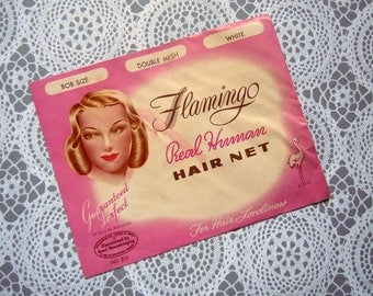 Vintage 1947 Flamingo Pink Real Human Hair Net White Double Mesh Bob Size