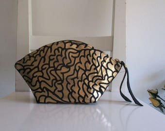 Gold and Black Leather Clutch / Pouch / Makeup Bag / Purse