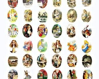Alice In Wonderland Vintage images digital download collage sheet graphics 22mm x 30mm ovals cameos scrapbooking craft printables