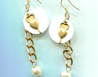 handmade heart earrings white pearl drop earrings bead dangles gold chain  earrings beaDed original jewelry