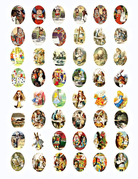Alice In Wonderland Vintage images digital download collage sheet graphics 22mm x 30mm ovals cameos scrapbooking craft printables
