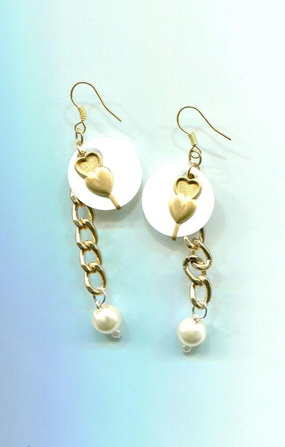 handmade gold heart earrings white pearl drop earrings bead dangles gold chain earrings beaDed original jewelry