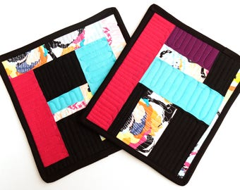 Improv Quilted Patchwork Pot Holders in Multi Color Modern Fabrics
