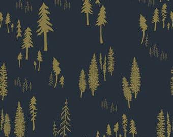 tree crib sheet- woodland baby bedding- blue fitted crib sheet / mini crib sheet/ changing pad cover- navy baby bedding- navy and gold sheet