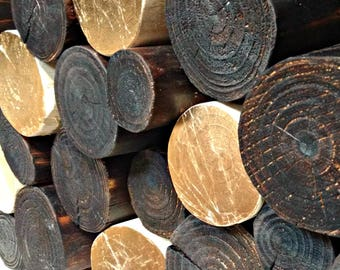 Blackened DECORATIVE LOGS - Charred - Black - log stack - log display - feature - accent - fill an empty fireplace - decorative - stacking
