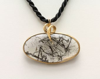 Tourmalated Quartz Pendant. Listing 574079062