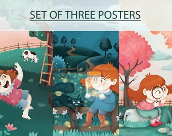 SET of 3 POSTERS, Little Jade, poster print, nursery room, kids room, children illustration