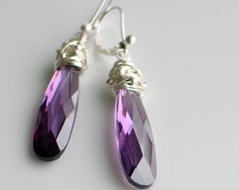 Long Purple Statement Earrings, Purple Cubic Zirconia Dangles, Gift for Her, Purple Jewelry, Ready to Mail