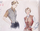 36 Bust,  1940's Vintage Weskit Blouse or Jacket Pattern / 1949 Simplicity 2962 / Vest with Sleeves Attached / 50's Sewing Pattern
