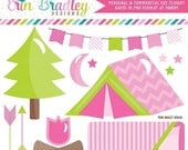 50% OFF SALE Girls Camping Clipart Set in Pink Glamping Clip Art Graphics with Tent Bonfire Sleeping Bag Moon Stars Arrows & Bunting