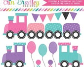 80% OFF SALE Girls Train Clipart Graphics Instant Download Birthday Party Clip Art with Balloons Bunting and Party Hats