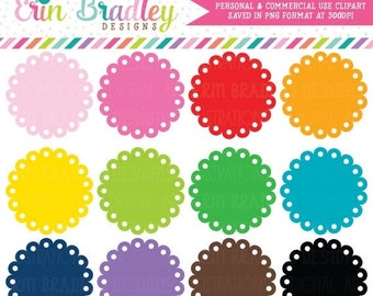 50% OFF SALE Scalloped Circles Clipart Graphics - Commercial Use Label Clip Art