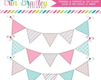 50% OFF SALE Digital Clipart Graphics Pink and Blue Bunting Flags Commercial Use Clip Art