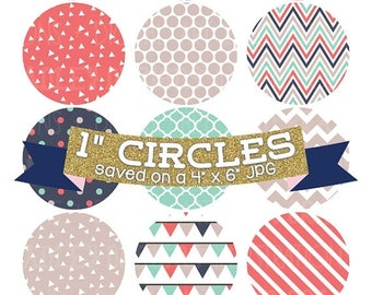 "50% OFF SALE Digital Collage Sheet 1"" Digital Bottlecap Images Triangle Collection Personal & Commercial Use One Inch Circles"