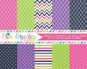 50% OFF SALE Digital Paper Pack Personal and Commercial Use Pink Blue Green & Purple Stripes and Polka Dots