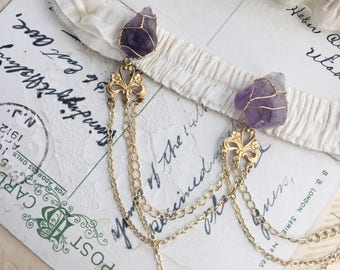 Amethyst Crystal Bridal Garter, Silk Wedding Garter, Gold and Ivory, bohemian, boho
