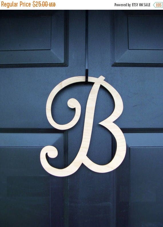 SUMMER WREATH SALE Painted Wood Letter- Initial Monogram Letter- Monogram Initial- Free Shipping- Wreath Accessory- Door Hanging- Wall Decor