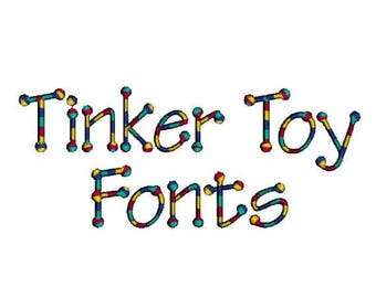 SALE 65% OFF Tinker Toy Child Alphabet Monogram Fonts and Numbers Machine Embroidery Designs Set - 3 Sizes Incl. Instant Download Sale