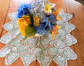 NOS Jadeite Doily, Mint Crochet Doily, Green Trim Round Doily,  Vintage Pineapple Doily,  Centerpiece, Rectangle Green Doily