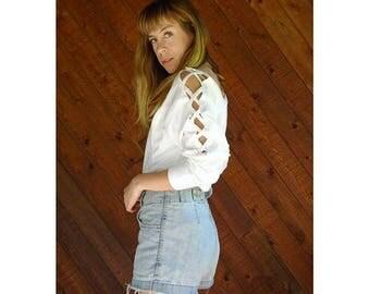 20% off SUMMER SALE. . . Lattice Lace Up Sleeve l/s Blouse Top - Vintage 90s - S/M