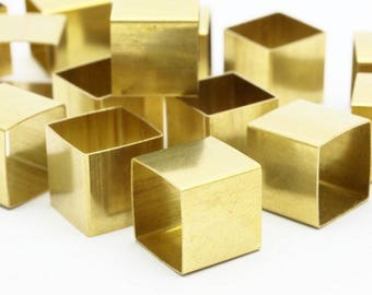 Geometric Square Tubes - 12 Huge Raw Brass Square Tubes (14x14mm) Bs 1520