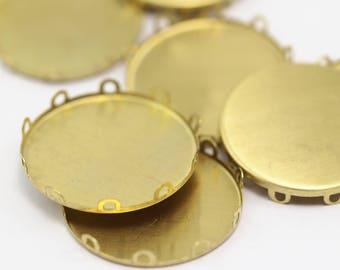 Round Bezel Setting, 10 Raw Brass Round Bezel Settings (30mm) B0093