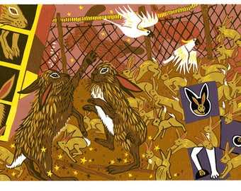 Rabbits with magical elements in an australian scene, woodcut, wall art