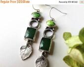 leaf earrings-sterling silver-green earrings-jade earrings-mom gift earrings-silver leaf-feminine earrings-artisan earrings-leaf jewelry