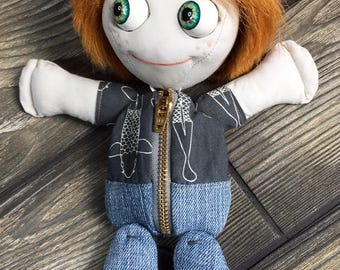 "10"" Tindle Kidz lil' ginger boy doll with moving eyes zipper tummy feed sack baby by Karen Knapp of Tindle Bears"