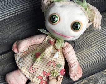 "10"" cutie pie doll moving eyes custom dress with pig tails feed sack baby by Karen Knapp of Tindle Bears"