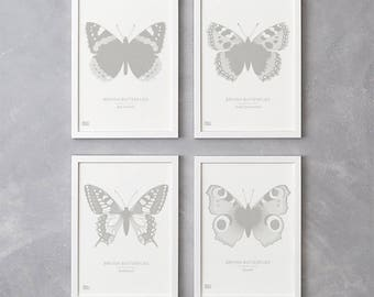 Set of 4 British Butterflies Screen Prints in Putty, Nature Wall Art, Butterfly Wall Art, Animal Wall Decor, Butterfly Art Print