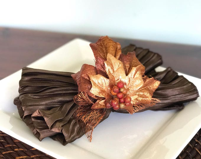 Featured listing image: Napkin Ring with Copper Leaves - Fall - Thanksgiving -Autumn