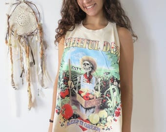 Grateful Dead Keep It Green Skeleton Bertha Roses Layering Tie Dye Dead Head Upcycled Tank Top Tee Top Shirt Womens Clothing One Size