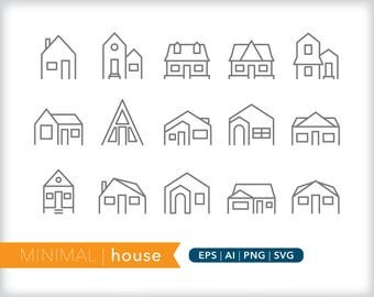 Minimal house line icons | EPS AI PNG | Geometric Architecture Clipart Design Elements Digital Download