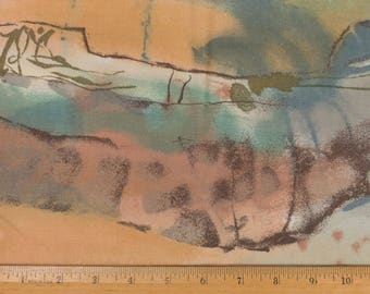 Polished cotton Upholstery / Decorator fabric Abstract watercolor design, Southwest, 49 by 30 inches, Sold as one piece