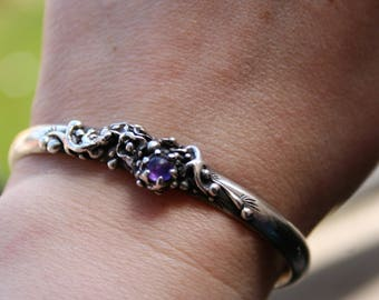 SALE...Vintage  Sterling Silver Floral Twig Cuff Bracelet with  two lizards and amethyst stone  ,One of a kind , So stunning and so Elegant