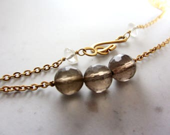 Morning Harmony Necklace- 24k gold plated necklace and smokey quartz