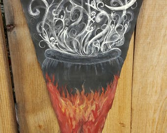 Hand Painted Just For You ...BREWING Cauldron with Imps and Ghosts on Handpainted Banner...Unique Halloween Decor
