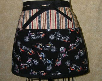 Motorcycles apron motorcycle chains drive chain deep front pocket panel fully lined top stitchedcotton half wasit tie black red yellow